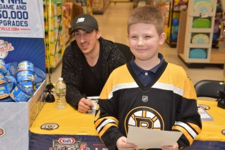Brad Marchand with Andrew Barrett