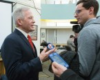 Superintendent Fred Foresteire speaks to the media Monday night about the school department's multi-million dollar budget shortfall.