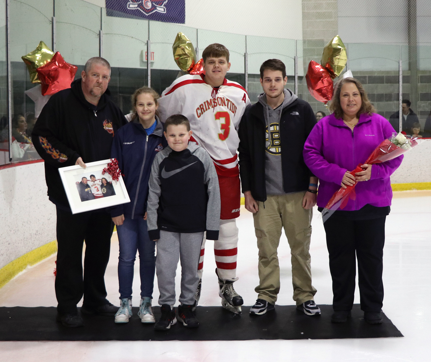 #3 Asst. Captain Ryan Colman with his parents, Kim and Ronald; brothers, Corey and Ronald; and sister, Jessica