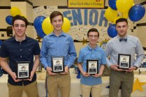 2017-2018 Varsity Boys Indoor Track Coaches Award winner Jack Campbell, Most Improved Brett Cohee, Unsung Hero David Henriques, and Most Valuable Player Nicholas Kinnon