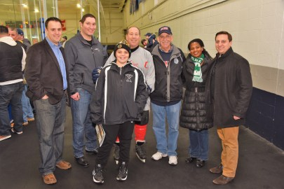 Ward 4 Councillor Patrick Keefe, Jr. Councillor-at-Large Steven Morabito, Patrick Keefe, Boston Strong Allstar Captain Kevin Chiles, Ward 2 Councillor Ira Novoselsky, Boston City Councilor District 1 Lydia Edward, and State Senator Joseph Boncore