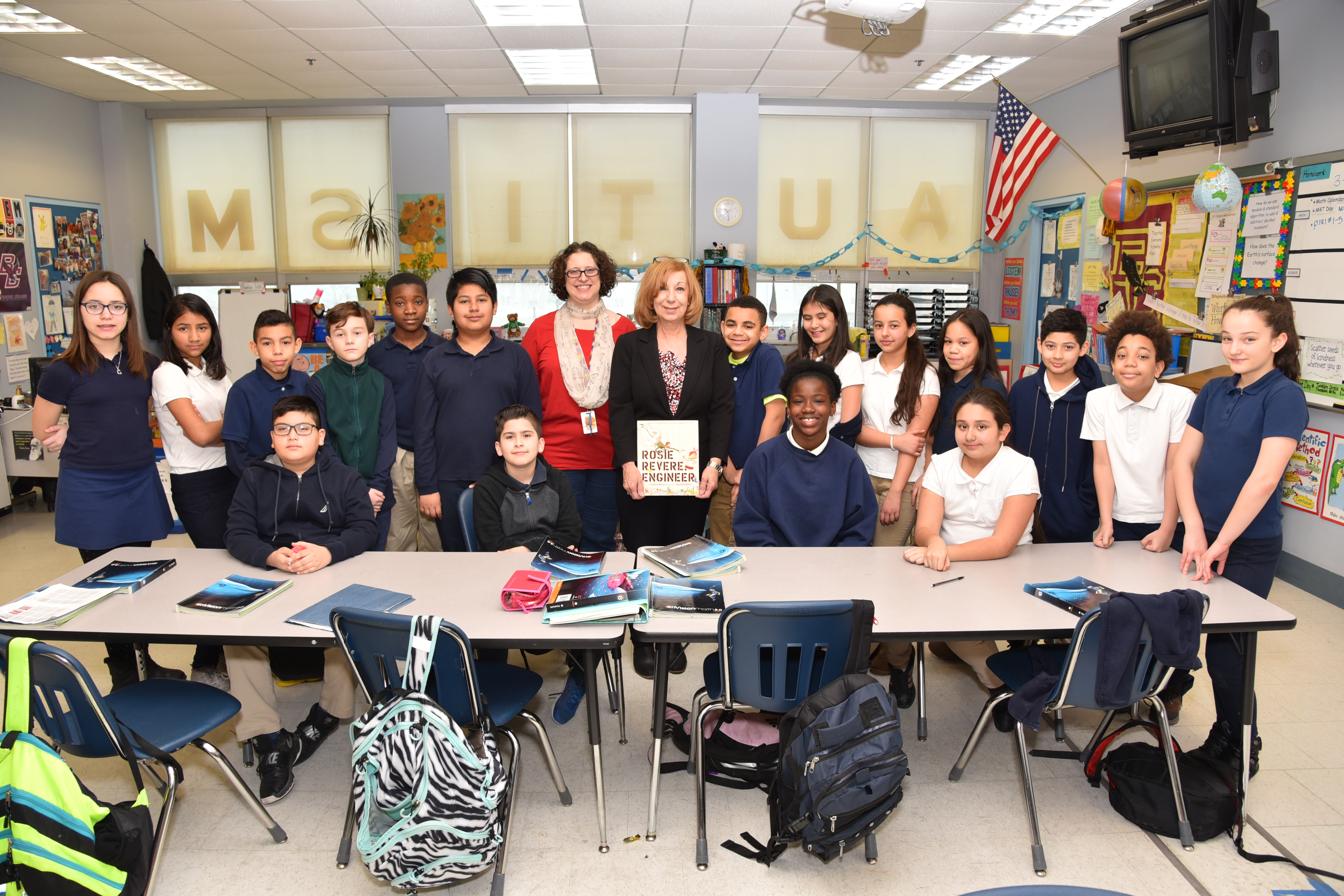Garfield fifth graders and Holly Correia with State Rep. RoseLee Vincent