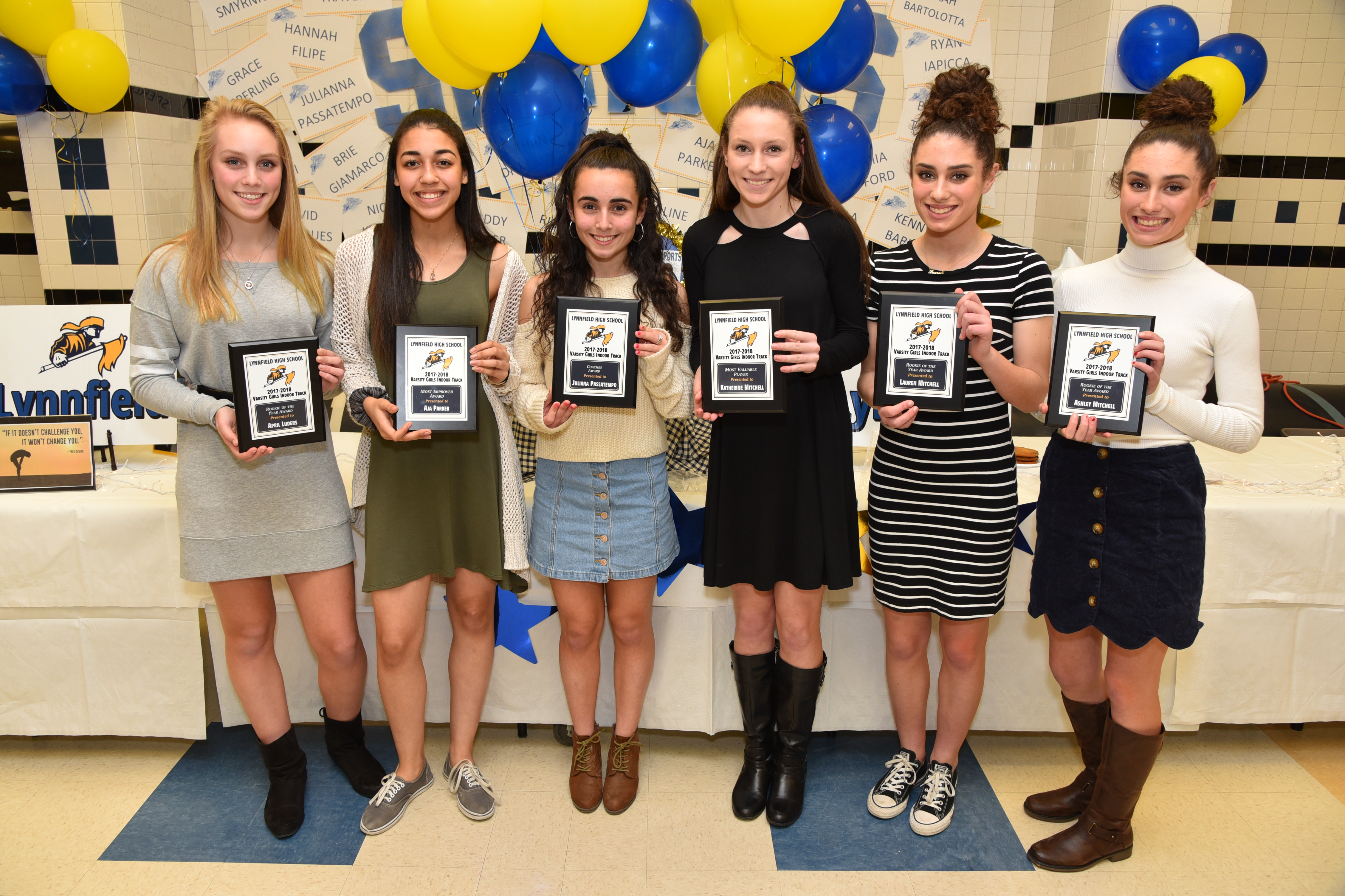Varsity Girls Indoor Track Rookie of the Year April Luders, Most Improved Aja Parker, Coaches Award winner Juliana Passatempo, Most Valuable Player Katherine Mitchell, Rookie of the Year Lauren Mitchell, and Rookie of the Year Ashley Mitchell