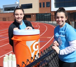 Getting the hydration going, Jenna Cobb and Sophia Scoppettuolo.