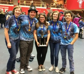 Shown, from left to right, are high school seniors Molly Pifko, Alberto Benitez, Makayla Maffeo, Raden Sorli Hawk and Dominick Gravante following their win in the Destination Imagination State Tournament. Next month they will be traveling to Tennessee to compete in the Global Finals. (Courtesy Photo)