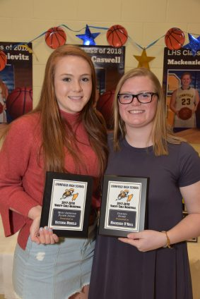 LHS 2017-2018 Varsity Girls Basketball Most Improved Player Award winner Victoria Morelli with LHS 2017-2018 Varsity Girls Basketball Coach Award winner Mackenzie O'Neil