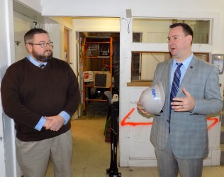 Mayor Edward Bettencourt and Citizens Inn Executive Director Corey Jackson discussed the organization's upcoming Haven from Hunger kitchen renovation during the April 6 groundbreaking event.