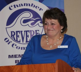 The newly installed Executive Director of the Revere Chamber, Wendy Millar-Page with the closing remarks of the evening. Wendy thanked everyone for putting their confidence in her and promised to keep the Revere Chamber on a forward course and work closely with the officers and board members to improve the existing programs.