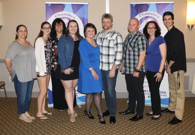Wendy's support group and family were on hand for her installation. From left, Lisa D'Aiello, Colby Bosse, Jeannie Polino, Serena Page, Wendy L Millar-Page, Marc Doyle, Kurt Millar, Linda and Spencer Bosse.