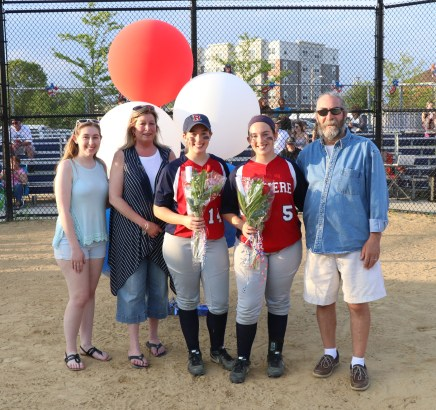 The twins, Madison and Mackenzie Cunningham with their parents, Debbie and Patrick and sister, Morgan.
