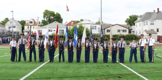 Major D. Bowker (retired) the RHS JROTC Cadet Honor Guard