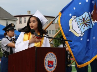 The Pledge of Allegiance by President of RHS Class of 2018, Megan Nguyen.
