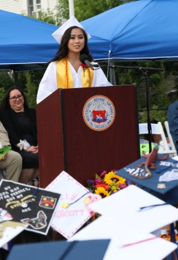 Class President Megan Nguyen with her remarks to her classmates