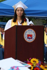 Salutatorian Amy Ly with her speech to the Class of 2018.