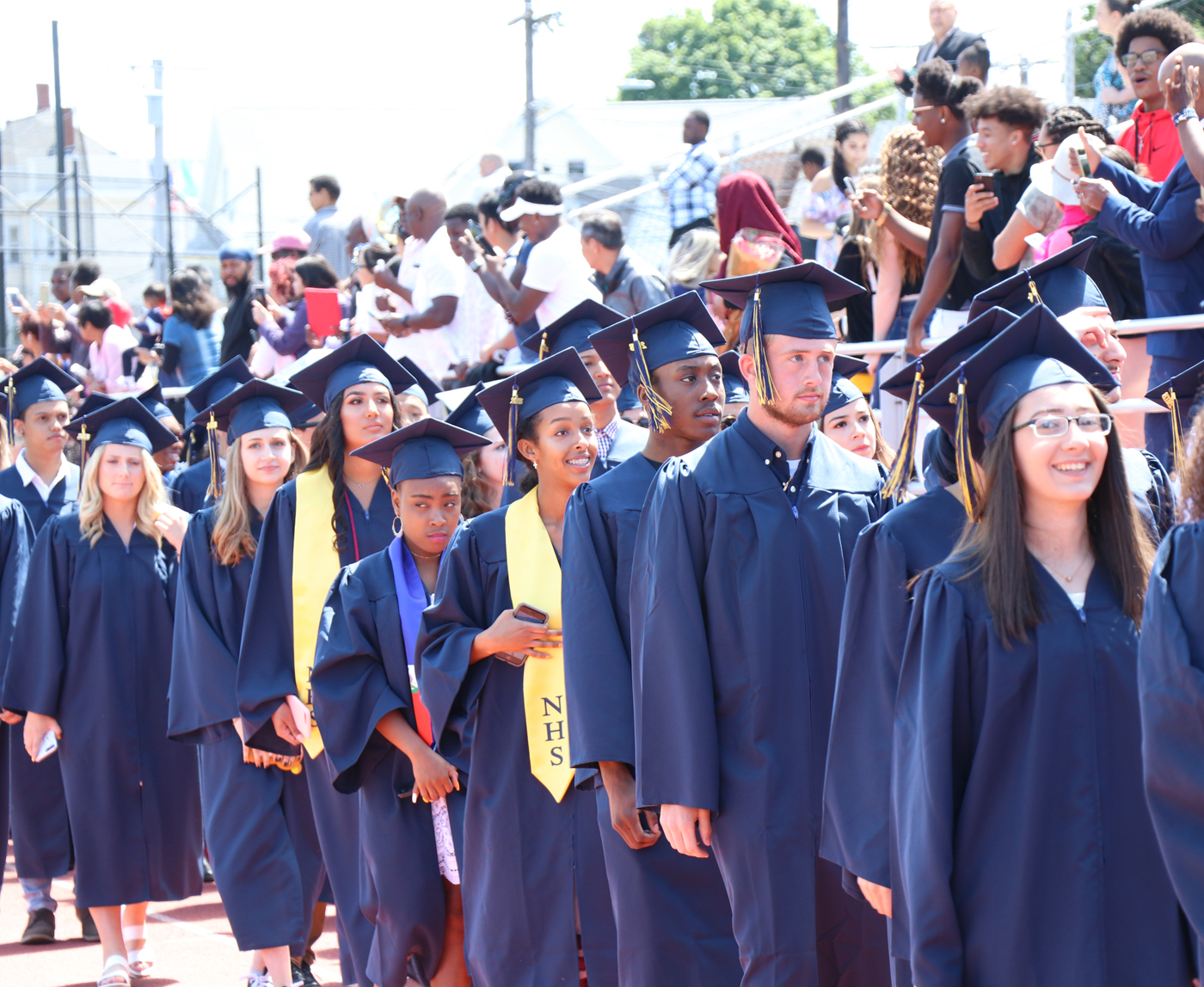 The Class of 2018 enters the stadium for graduation.