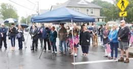Family, friends and neighbors gathered on Memorial Day at the corner of Adams and West Streets for a dedication to WWII hero, killed in France on July 30, 1944. US Army Medic, Joseph F. Kinnon