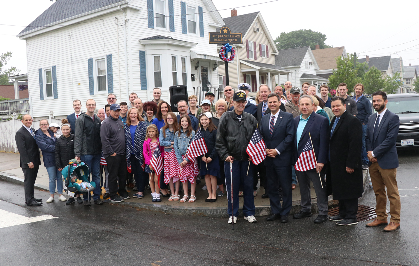 The Kinnon family was joined by Mayor Gary Christenson, state and local elected officials at the dedication ceremony of US Army Medic Joseph F Kinnon.