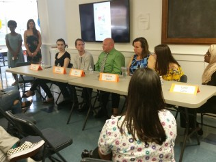 Panelists field questions on gun control, violence prevention, social media and teen depression during a community discussion on school safety organized by the YWCA and the Malden Teen Enrichment Center.