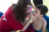 Michael Diorio received some patriotic face paint on the 4th of July on Wednesday