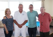 Special guests and friends of the yacht club join Commodore Glancy . State Representative RoseLee Vincent, Mayor Brian Arrigo and Ward 5 City Councillor John Powers.