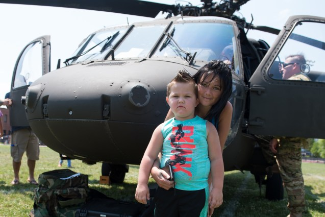 Aspiring policeman Jayden Castetter and his mother Felicia posed in front of the Blackhawk helicopter at Glendale Park on Thursday