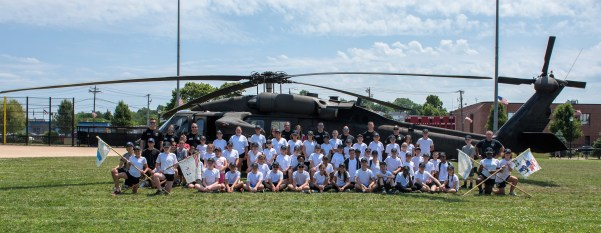 The Junior Police Academy gathered in Glendale Park to see a Blackhawk helicopter land
