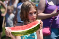 Ava Crooker glanced at her competition in the midst of the watermelon eating contest