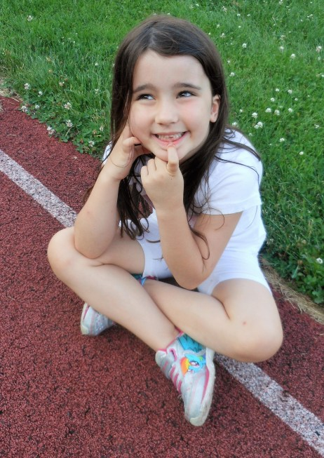 ON THE LINE: Naomi Tarantino, 6, who will be a first-grader at Lynnhurst Elementary School, is one of the youngest athletes who will be competing in the 2018 Saugus Sachems Summer Track Camp next week at the Belmonte Middle School. (Saugus Advocate photos by Mark E. Vogler)