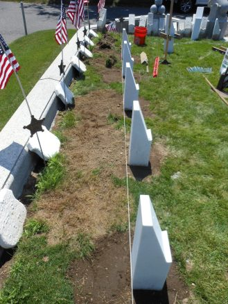 RECENTLY PLANTED: Some of the new marble posts that were installed this week in the Civil War veterans' burial plot at Riverside Cemetery. They will hold the new markers that will be inscribed with the names of the 25 Saugonians who served in the Civil War. An unknown soldier is also buried at the site.