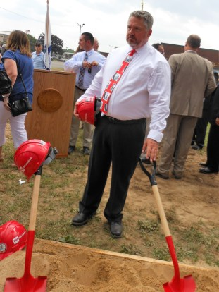 HISTORIC CELEBRATION: Saugus High School Principal Michael Hashem relaxes at the end of Tuesday's groundbreaking ceremony for the future Saugus Middle-High School