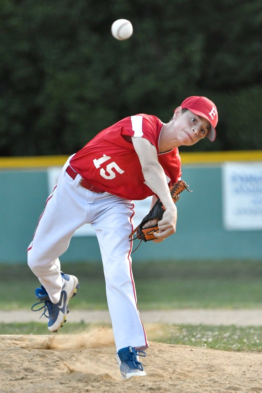 John Longmore of Everett pitches the ball during their Little League District 12 game 6-2 loss to Medford at Gillis Park in Medford on Thursday, July 12, 2018.
