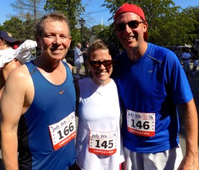Shown, from right to left, are Francis Kolarik, 53, of Cambridge, Christine Sullivan, 33, and Christian Sullivan, 34, both of Lynnfield, following the 51st Annual Fourth of July Road Race.