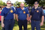 Shown, from left to right, are Peabody firefighters Kory Desmond, Michael Martin and Michael Elieuk during the Fourth of July festivities at Raddin Park.