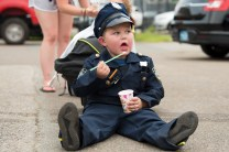 Jayden Castetter enjoyed a slush at National Night Out in his police uniform