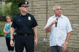 Chief Mazzie joined State Representative Joe McGonagle in welcoming residents to National Night Out