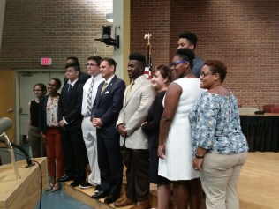 Mayor Gary Christenson and the Malden Rising Leaders Board of Directors join members of the Summer Fellowship Program to celebrate their research project on lowering the voting age, which was presented at the Senior Center this week.