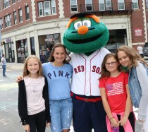 Wally the Green Monster was on hand for a photo-op with the Giordano girls, Kendall, Chloe, Madison and Reilly.