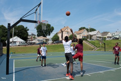 On Saturday 3-on-3 basketball games were held throughout the day in Florence Street Park.