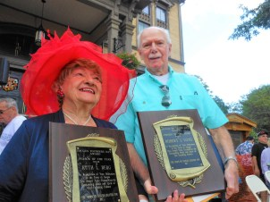 "CITIZEN HEROES; Ruth L. Berg, left, and Robert J. Long, receive the Saugus 2017 ""Person of the Year Award"" at last year's Founders Day, in front of Saugus Town Hall. (Saugus Advocate Photo by Mark E. Vogler)"