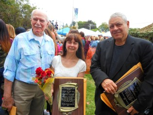 "FORMER SELECTMEN COLLEAGUES: Left to right: 2017 ""Person of the Year Award"" recipient Robert J. Long shares a moment with this year's award recipients Janette Fasano and Peter Manoogian in front of Saugus Town Hall last Saturday. The three served together on the Board of Selectmen. Two other former colleagues – Florence Chandler (2003) and Richard Barry (2006) – are past recipients of the award."
