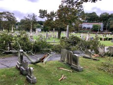 CEMETERY DAMAGE: What National Weather Service officials determined to be a microburst caused damage in Riverside Cemetery on Tuesday, sending large tree limbs crashing down on gravestones. (Courtesy Photo to The Saugus Advocate by Lt. Damian Drella of the Saugus Fire Department)