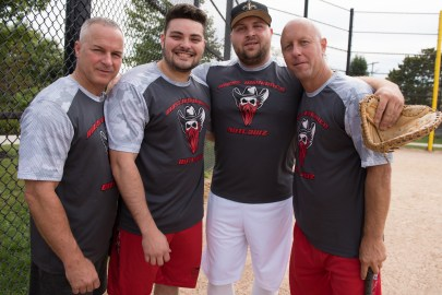 Phil Tammaro, Yojan Hernandez, Ricky Mastropietro, and Peter Sikora participated in the Strike Out Cancer softball games.
