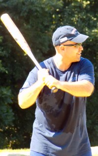 Lynnfield Officer Michael Topping at bat for the Peabody/Lynnfield Police team.