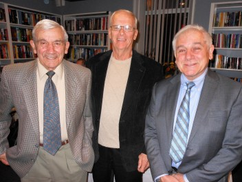 """A CASUAL MOMENT: Some of this year's """"Readers Make Good Readers"""" honorees, left to right – Harry Mazman, Gordon E. Shepard and Peter A. Rossetti, Jr. – relax in the Community Room of the Saugus Public Library."""