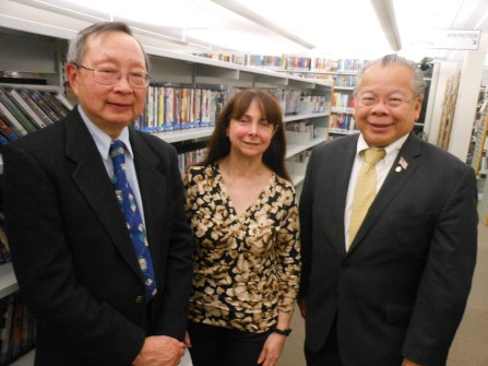 """PAST HONOREES: left to right, Nelson Chang, one of last year's honorees, with Janette Fasano, a 2016 recipient of the """"Readers Make Good Leaders"""" Award, joined by state Rep. Donald Wong (R-Saugus)."""