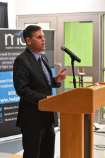 Mayor Gary Christenson shows his support for MOA.