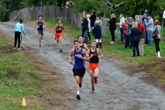 Jacob Farhat of Peabody runs the course during their cross country meet with Beverly at Brooksby Farm in Peabody on Wednesday, Oct. 3, 2018.