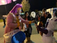 Revere resident Maya Oliva, 6, who was dressed up a unicorn, was getting a skeleton from Silly Willy (Robert MacDonald) during Sunday's Fright Night on Sunday at Rumney Marsh Academy.