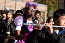 Lakisha Kirnon joined the Everett Marching Band in providing some music for the children to march to.