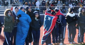 The freezing temperatures did not keep the RHS Cheerleaders down.